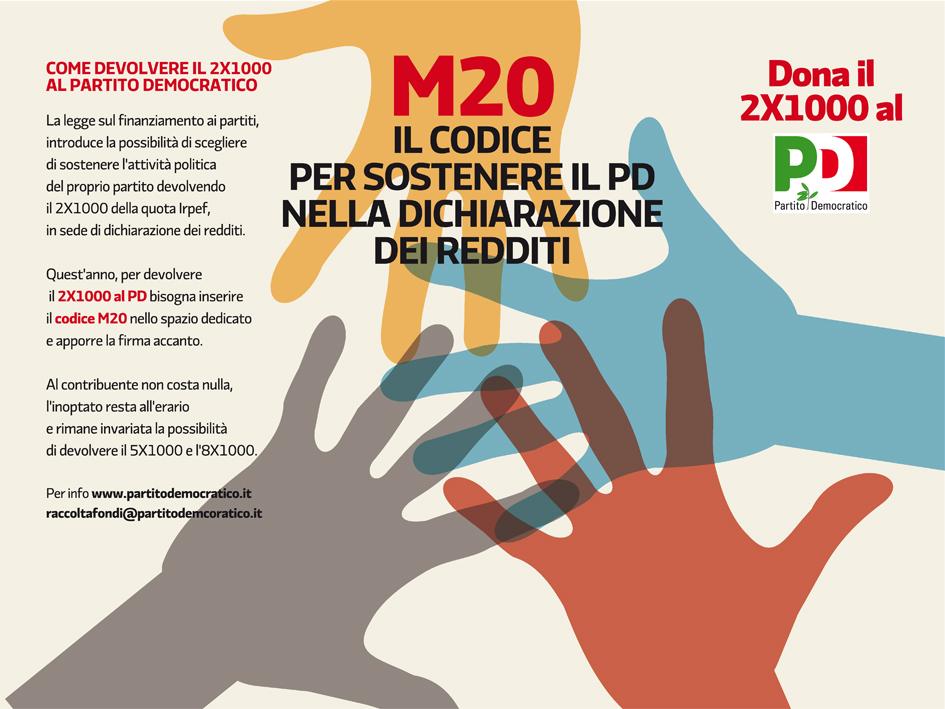 M20 - Il codice per sostenere il PD nella dichiarazione dei redditi